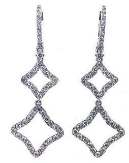 Diamond Quatrefoil Drop Dangle Earrings