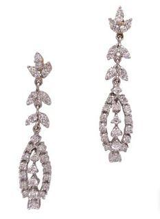 1960's Diamond Drop Dangle Vintage Earrings