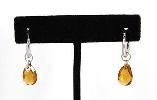 Vintage 14K White Gold And Citrine Dangle Earrings