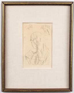 """Pierre Bonnard """"Jeune Fille Lisant"""" Etching"""