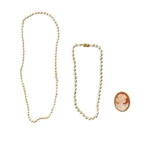 (2) Pearl Necklace 14K Clasp & cameo pendant