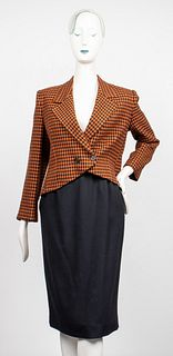 Christian Dior Houndstooth And Black Skirt Suit
