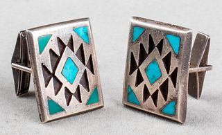 Native American Navajo Turquoise Inlay Cufflinks