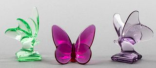 French Baccarat Colored Glass Butterflies, 3 Pcs