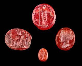 Lot of 4 Roman Carnelian & Jasper Intaglios