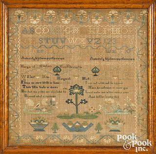 American silk on linen sampler