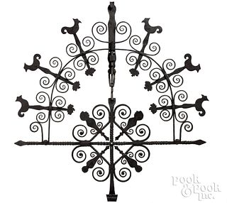 Elaborate Pennsylvania wrought iron pot rack