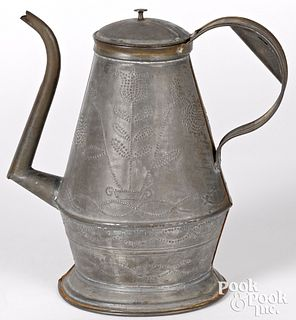 Pennsylvania punched tin coffee pot, 19th c.