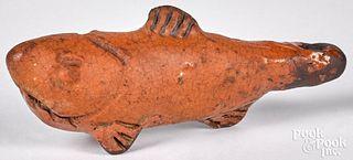 Redware fish whistle, 19th c.