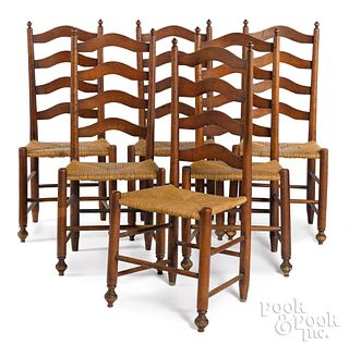Set of six Delaware Valley ladderback chairs