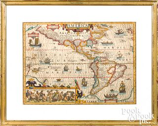 Jodocus Hondius color engraved map of America