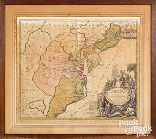 Johann Homann color engraved map