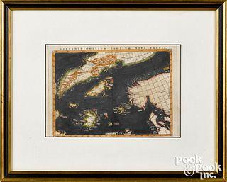 Girolamo Ruscelli color engraved map
