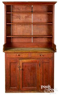 Painted pine two-part pewter cupboard, ca. 1800