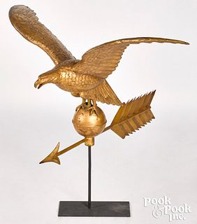 Large full bodied copper eagle weathervane
