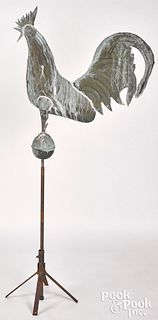 Full bodied copper rooster weathervane