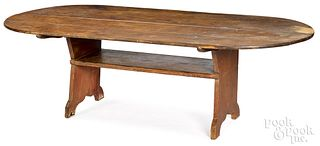 Large pine bench table, 19th c.
