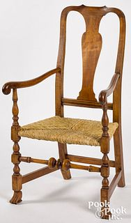New England Queen Anne maple armchair