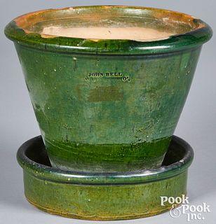 Large Pennsylvania redware flowerpot, 19th c.