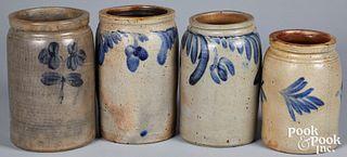 Four Pennsylvania and Maryland stoneware crocks