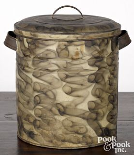 Smoke decorated tin canister, late 19th c.