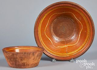 Two Pennsylvania slip decorated redware bowls