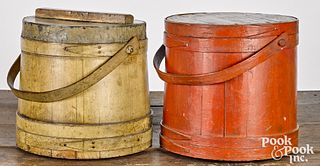 Two large painted pine firkins, 19th c.