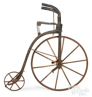Painted wood boneshaker bicycle trade sign