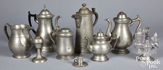 Nine pieces of American pewter