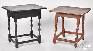 Two diminutive painted tavern tables