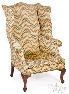 Queen Anne walnut wing chair