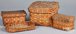 Four Woodlands painted baskets