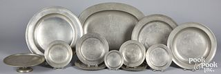 English pewter chargers, platter, compote, etc.