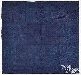 Two New England indigo linsey woolsey quilts