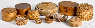 Miniature baskets, dresser boxes, etc.