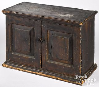 New England painted pine table top cupboard