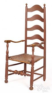 Delaware Valley ladderback armchair, mid 18th c.