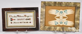 Two folk art heart and hand works