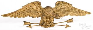 Carved and gilded eagle wall plaque, 19th c.