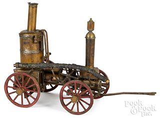Brass working model hand drawn steam engine