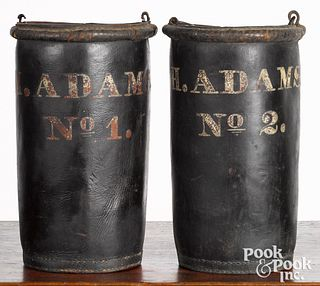 Pair of American painted leather fire buckets