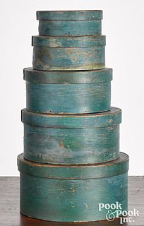 Stack of five painted bentwood pantry boxes