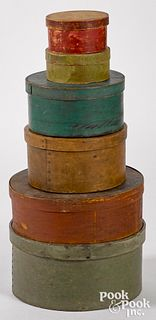 Six painted bentwood pantry boxes, 19th c.