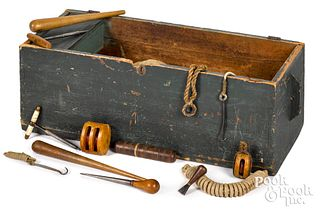 Sailor's painted pine tool chest, 19th c.