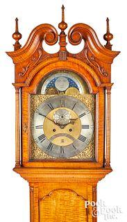 Pennsylvania Chippendale tiger tall case clock