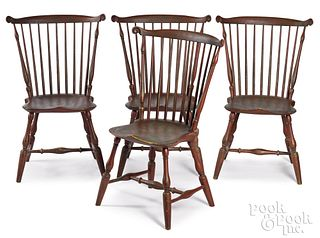 Four Peter Deen fanback Windsor chairs