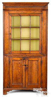 Southern hard pine one-piece corner cupboard