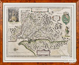 Henricus Hondius color engraved map of Virginia