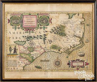 Jodocus Hondius color engraved map