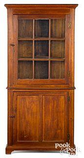Southern walnut one-piece corner cupboard